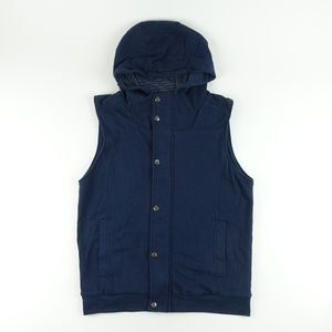 21 Men Los Angeles Hooded Vest Navy Blue A4619